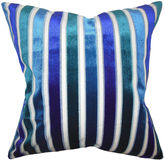 One Kings Lane Stripes 18x18 Cotton Pillow, Blue