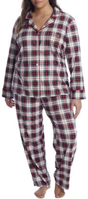 Lauren Ralph Lauren Plus Size Ivory Plaid Knit Pajama Set