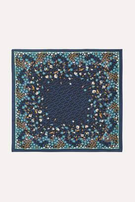Fendi Printed Silk-twill Scarf - Navy
