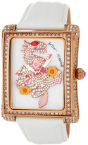 Betsey Johnson Women's Dragon Crystal Accented Rectangle Leather Strap Watch