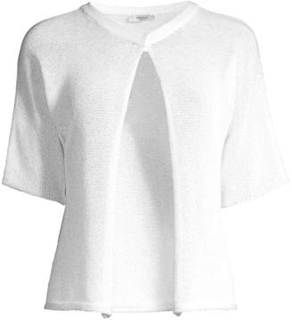 Peserico Short-Sleeve Cropped Crochet Cardigan