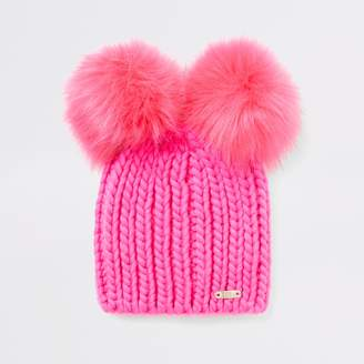 River Island Womens Bright Pink faux fur pom pom knitted hat