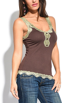 Miss June Choco Brown Lace-Trim Button-Front Tank