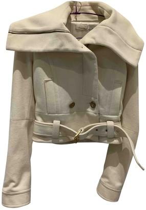Pinko Ecru Wool Coat for Women