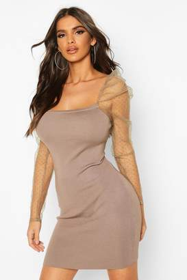 boohoo Polka Dot Mesh Puff Sleeve Jumper Dress