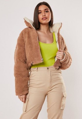 Missguided Reversible Crop Borg Puffer Jacket