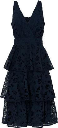 True Decadence Navy Cut Work Organza Midi Dress