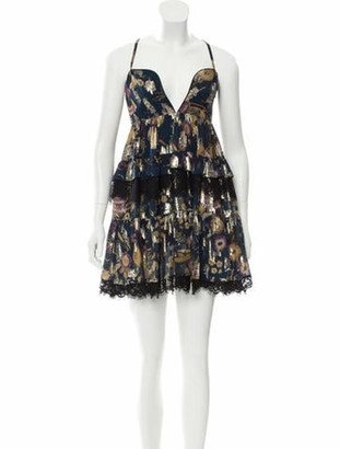 Dundas Lace-Trimmed Silk Dress Navy
