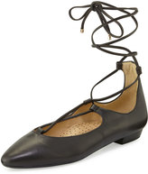 Neiman Marcus Gerry Leather Lace-Up Flat, Black