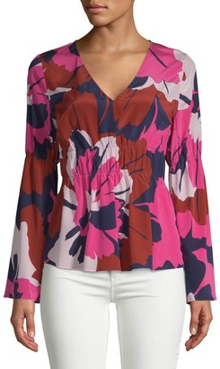 Tracy Reese Floral Ruched Blouse