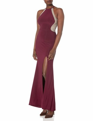 Xscape Evenings Women's Long Halter Gown with Caviar Beading