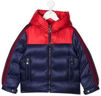Moncler Enfant Hooded Block Color Puffer Jacket
