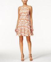 Nine West Printed Halter Fit & Flare Dress