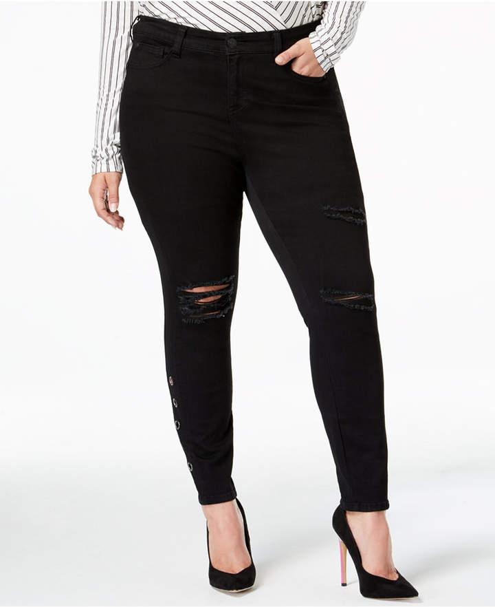 Celebrity Pink Trendy Plus Size Destructed Black Skinny Jeans