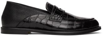 Loewe Black Croc-Embossed Slip-On Loafers