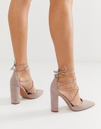 Asos Design DESIGN Power Trip tie leg high block heels in taupe-Grey