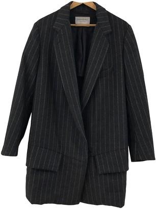 Saint Laurent Grey Wool Coat for Women
