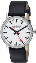 Mondaine 'SBB' Swiss Quartz Stainless Steel and Leather Casual Watch, Color:Black (Model: MSE.35110.LB)