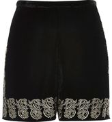 River Island Womens Black velvet embellished hem shorts