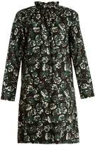 Marni Poetry Flower-print ruffled-neck cotton mini dress