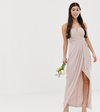 TFNC Petite bridesmaid exclusive bandeau wrap midaxi dress with pleated detail in taupe