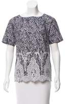 Thakoon Embroidered Short Sleeve Top