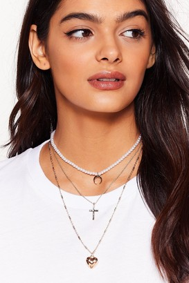 Nasty Gal Womens Oh My Heart Layered Pendant Necklace - Gold