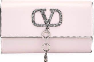 Valentino Garavani VCASE Crystal-Logo Clutch Bag