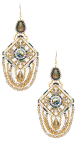 Miguel Ases Beaded Emblem Statement Earrings