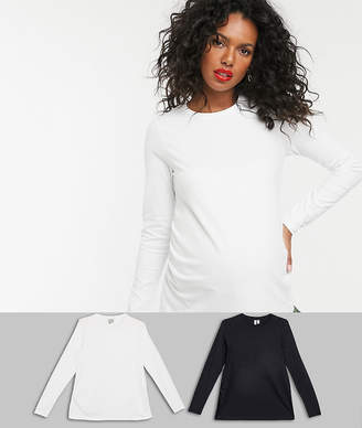 Asos DESIGN Maternity ultimate organic cotton long sleeve t-shirt with crew neck 2 pack SAVE-Multi