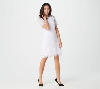 Isaac Mizrahi Live! Knit Lace Elbow Sleeve Swing Dress
