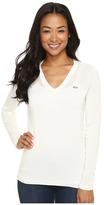 Lacoste Long Sleeve Cotton Jersey Ottoman V-Neck Sweater