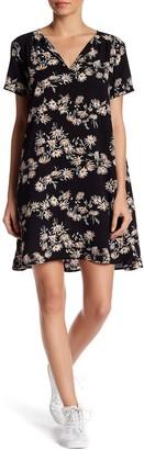 Lush Split Neck Floral Print Dress