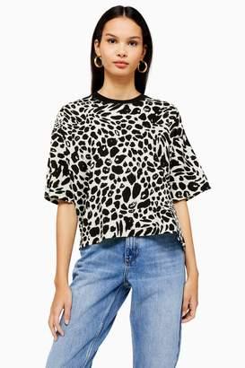 Topshop Womens Tall Splodge Cheetah Boxy T-Shirt - Monochrome