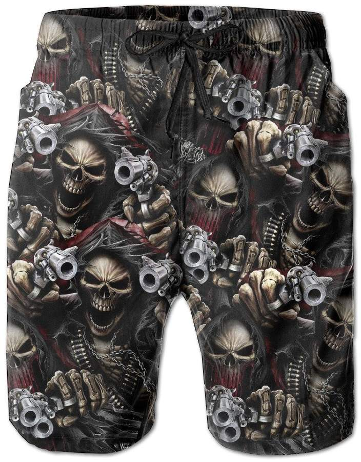 Trunks JackIOP Skull Pirate Skeleton Bones Men's Workout&swim Quick Dry Board Shorts With Pockets And Drawstring For Running