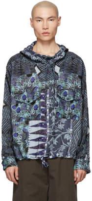 Martine Rose Blue Mandela Hooded Shirt