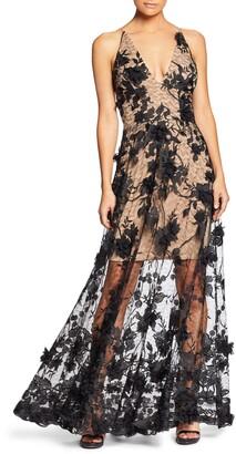 Dress the Population Sidney Deep V-Neck 3D Lace Gown