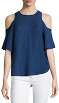 Halston Short-Sleeve Cold-Shoulder Georgette Top