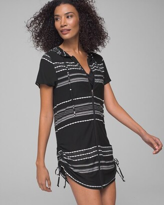 Soma Intimates Dahlia Stripe Zip Front Hoodie Dress Coverup