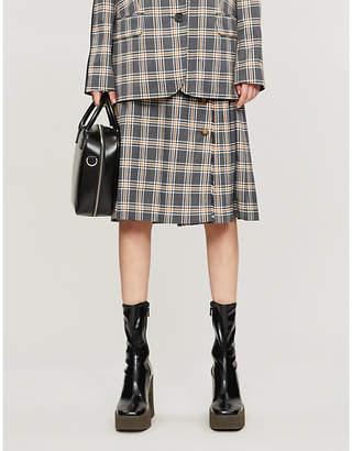 Selfridges Bapy Checked pleated high-waist woven skirt