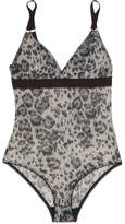 Stella McCartney Florence Fluttering Leopard-print Stretch-mesh Bodysuit