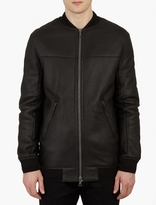 Yves Salomon Black Leather Shearling Bomber Jacket