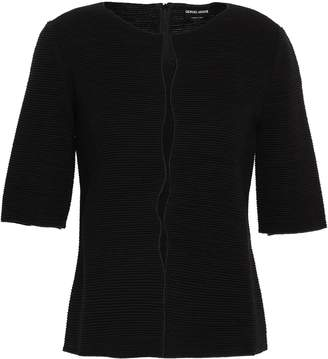 Giorgio Armani Mesh-trimmed Ribbed Wool-blend Top