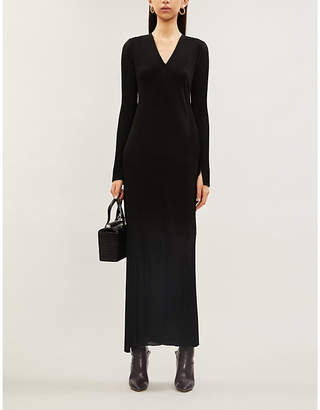 Victoria Beckham Fitted semi-sheer crepe knitted maxi dress