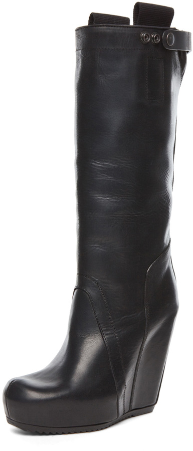 Rick Owens Knee High Wedge in Black