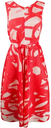 Pleats Please Issey Miyake Abstract Print Pleated Dress