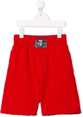 Msgm Kids Logo Patch Track Shorts