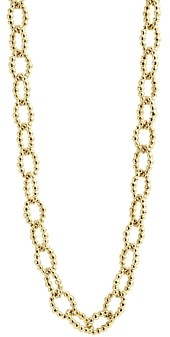 Lagos Caviar Gold Collection 18K Gold Fluted Oval Link Necklace, 24