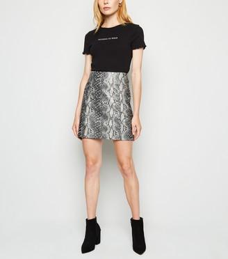 New Look Light Faux Snake Mini Skirt
