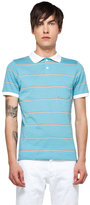This is Not a Polo Shirt by band of outsiders Striped Polo in Deep Pale Blue Triple Stack Stripe